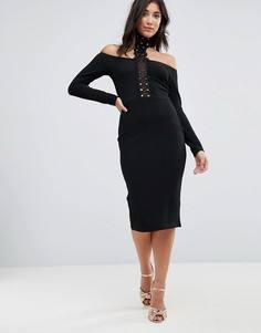 Платье миди с ажурной вставкой AX Paris - Черный