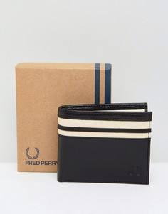 Кожаный бумажник двойного сложения с отделением для монет Fred Perry - Черный