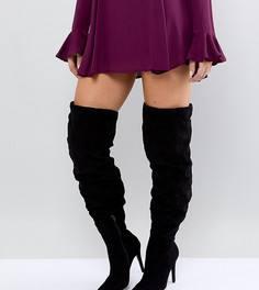 Ботфорты для широкой стопы на высоком каблуке New Look - Черный