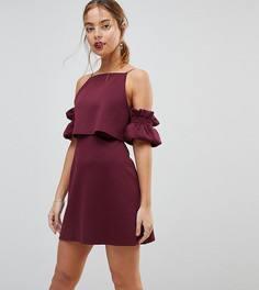 Платье мини с укороченным топом и рукавами-оборками ASOS PETITE - Фиолетовый