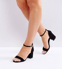 Босоножки для широкой стопы на низком блочном каблуке с квадратным носком New Look - Черный