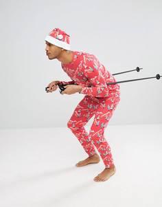 Новогодний пижамный комплект с шапкой Off-Duty - Красный
