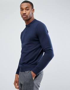 Вязаное поло Jack & Jones Premium - Темно-синий