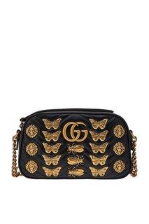 Кожаная сумка GG Marmont с декором Gucci