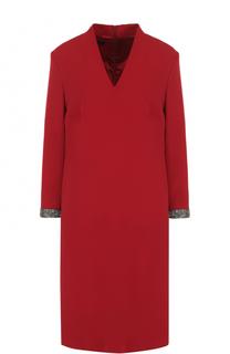 Платье прямого кроя с укороченным рукавом и V-образным вырезом Escada