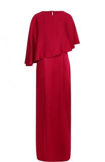 Однотонное платье-макси с кейпом St. John