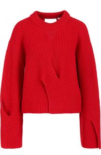 Шерстяной пуловер фактурной вязки с круглым вырезом BOSS