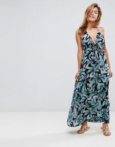 Пляжное тканое платье макси с завязкой и принтом ASOS - Мульти
