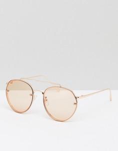 Солнцезащитные очки-авиаторы в золотисто-розовой металлической оправе с накладными линзами ASOS - Золотой