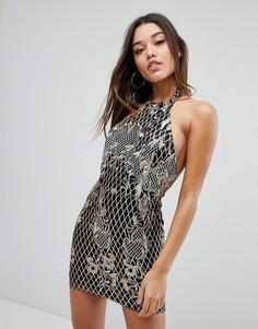 Платье мини халтер с вышивкой пайетками Missguided - Черный