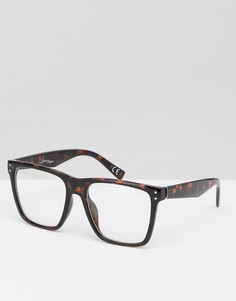 Черепаховые квадратные очки с прозрачными стеклами Jeepers Peepers - Коричневый