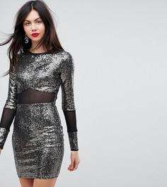 Платье мини с пайетками и сетчатыми вставками ASOS TALL - Серый