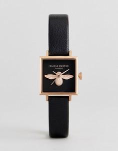 Часы с черным кожаным ремешком и 3D-пчелой Olivia Burton OB16AM128 - Черный