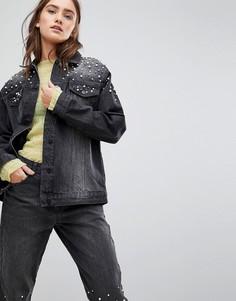 Джинсовая оверсайз-куртка с искусственным жемчугом Chorus - Черный