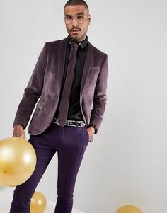 Бархатный супероблегающий блейзер Noose & Monkey - Фиолетовый