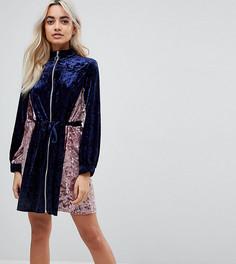 Бархатное платье в стиле колор блок ASOS PETITE - Мульти