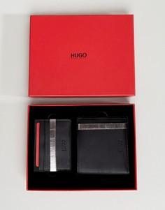 Подарочный набор из черного кожаного бумажника и кошелька для карт HUGO - Черный