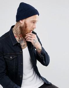 Темно-синяя шерстяная шапка-бини в подарочной упаковке ASOS - Темно-синий
