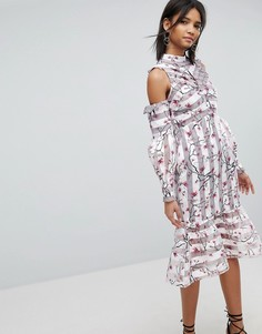 Платье с цветочным и полосатым принтом Elliatt - Мульти