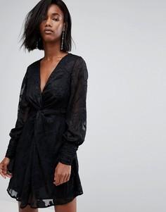 Платье из деворе со сборками на рукавах Boohoo - Черный