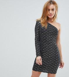 Платье на одно плечо с эффектом металлик Flounce London Petite - Черный