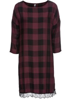 Платье с кружевной отделкой (черный/темно-бордовый в клетку) Bonprix