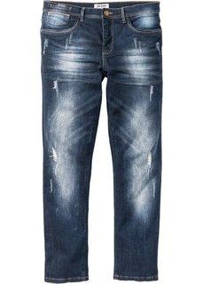 Джинсы-стретч Slim Fit Straight, cредний рост (N) (темно-синий «потертый») Bonprix