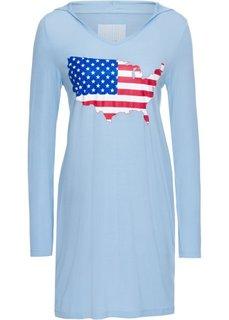 Платье с принтом и капюшоном (синий лед с рисунком) Bonprix