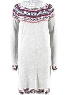 Вязаное платье (светло-серый меланж с узором) Bonprix