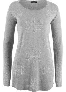 Пуловер с длинным рукавом (светло-серый меланж) Bonprix