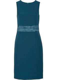 Платье-футляр с сатиновой вставкой (серо-синий) Bonprix