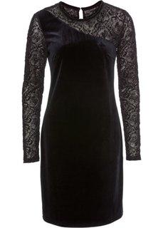 Бархатное платье с прозрачными рукавами (черный) Bonprix