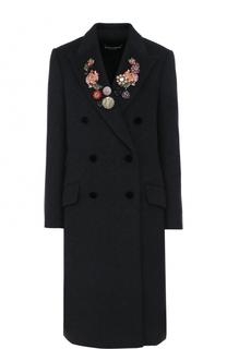 Шерстяное двубортное пальто с контрастной отделкой Dolce & Gabbana
