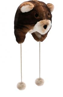 Меховая шапка-ушанка с помпонами Loro Piana