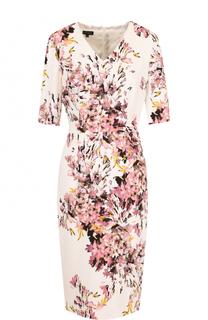 Приталенное платье-миди с принтом и V-образным вырезом Escada
