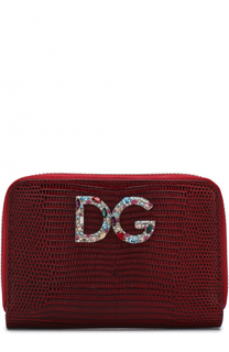 Кожаный кошелек на молнии с логотипом бренда Dolce & Gabbana
