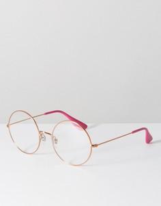 Массивные круглые очки с прозрачными стеклами в оправе цвета розового золота Ray Ban - Золотой
