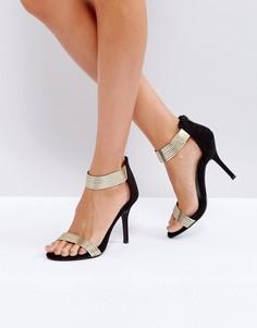 Босоножки на каблуке с эффектом металлик Little Mistress Barely There - Золотой