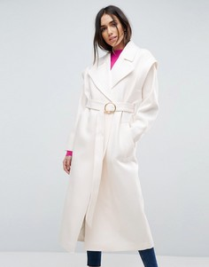 Пальто в стиле 80-х с поясом ASOS - Розовый