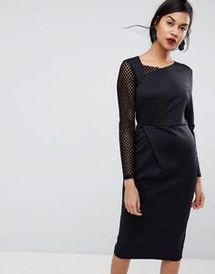 Платье-футляр миди с сетчатым рукавом и складкой на талии ASOS - Черный