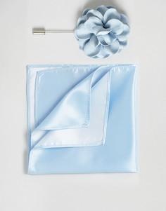 Платок для пиджака и булавка для галстука с цветочной отделкой Devils Advocate - Синий
