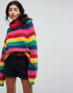 Трикотажный джемпер в разноцветную полоску с отворачивающимся воротом Lazy Oaf - Мульти