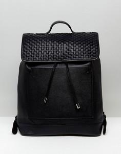 Кожаный рюкзак с плетеной отделкой ASOS - Черный