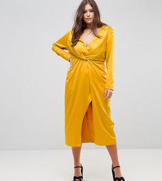 Платье миди с запахом TTYA BLACK Plus - Желтый Taller Than Your Average