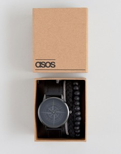 Часы с дизайном в виде компаса и браслет в подарочном наборе ASOS - Черный