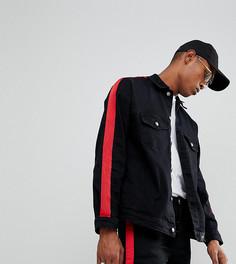 Черная джинсовая куртка с красной полосой Sixth June - Черный