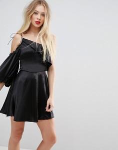 Асимметричное платье мини с пышным рукавом ASOS - Черный