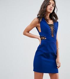 Соблазнительное платье мини с глубоким вырезом и шнуровкой ASOS TALL - Синий