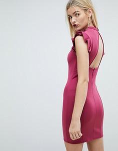 Платье-футляр мини с вырезом на спине и отделкой на плечах ASOS - Красный