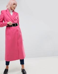 Пальто миди с подплечниками и поясом ASOS - Розовый